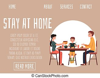 家庭吃, 一起, illustration., 矢量, 家, 网站, 停留, 套间, 旗帜