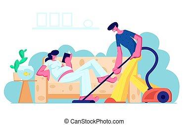 家庭家, 准备, 年轻, 等待, 肚子, 阅读, 婴儿, 开心, 套间, 妇女, 大, 夫妇, 地板, 描述, 真空, couch., 卡通漫画, 人, 妻子, 怀孕, 矢量, 清洁, 成为, 爱, 丈夫, parents.