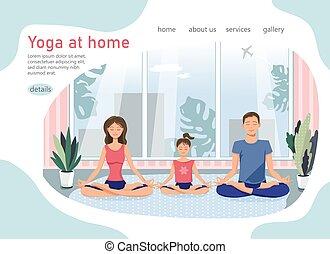 家庭家, style., 开心, 套间, 描述, 矢量, 现代, family., 全部, 瑜伽, interior., 舒适