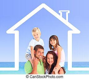 家庭形成, 带, a, 房子, illustra