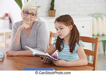 家庭教師, 女の子の読書, 勉強
