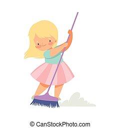家庭杂务, 漂亮, 很少, 地板, 扫帚, 描述, 家务劳动, 矢量, 清扫, 家, blonde, 可爱, 女孩, 家, 孩子
