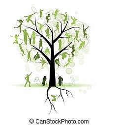 家庭樹, 親戚, 人們, 黑色半面畫像