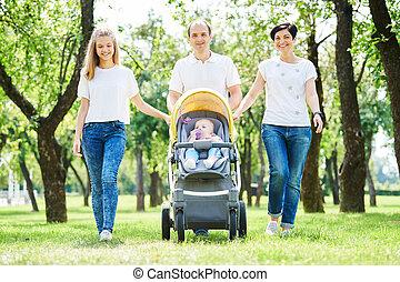 家庭走, 由于, 孩子, 在, 夏天, park., 愉快, parenting