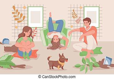 家庭, 一起, 或者, illustration., 开心, 花园, 时间, 套间, 开支, 家, 矢量
