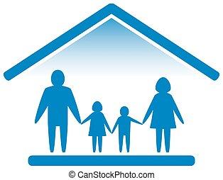 家庭, 上, 家, 藍色, 圖象