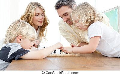 家庭, 下 棋, 上, a, 桌子