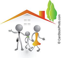 家庭, 以及, 新的房子, 標識語, 矢量