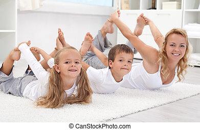 家庭, 做, 伸展, 练习, 在家