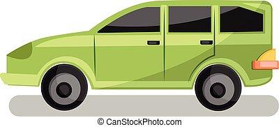 家庭, 光, 插圖, 背景。, 矢量, 綠色的汽車, 白色