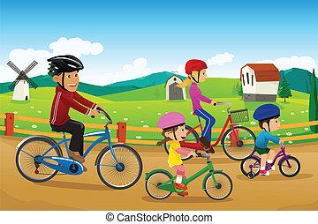家庭, 去, 騎車, 一起