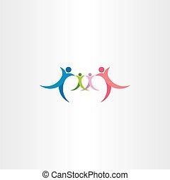 家庭, 图标, 矢量, 符号, 标识语, 人们, 元素
