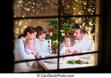 家庭, 在, 圣誕節晚飯