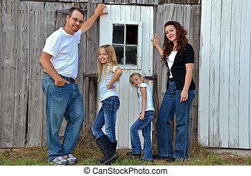 家庭, 在, 牛仔褲