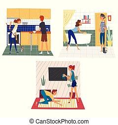 家庭, 妻子, 放置, 一起, 家务劳动, 矢量, 描述, 家, 周末, 丈夫, 打扫
