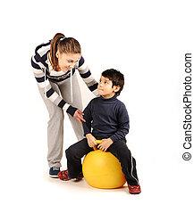 家庭, -, 年輕婦女, 以及, 孩子, -, 做, 運動, 健身, 鍛煉