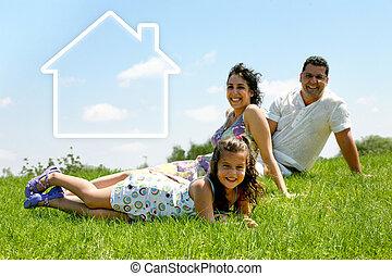 家庭, 房子, -, 家庭, 在草上
