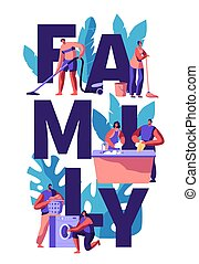 家庭, 房子, 洗涤, 妇女, 一起。, 盘, 真空。, 套间, machine., 洗衣房, 垂直, 夫妇, 描述, 真空, 选择, 卡通漫画, 人, wipe., 洗涤, floor., 矢量, 丈夫, 打扫