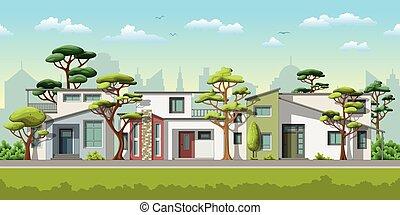 家庭, 房子, 现代, 三, 描述, 树