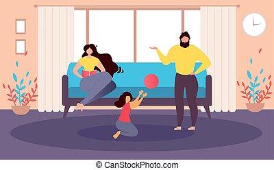 家庭, 描述, 矢量, 家, 卡通漫画, 开心