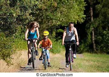 家庭, 摆脱, bicycles, 为, 运动