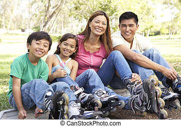 家庭, 放上, 在 線, 冰鞋, 在公園