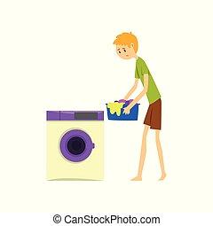 家庭, 洗衣房, 描述, 矢量, 背景, henpecked, househusband, 白色, 人, 卡通漫画, 丈夫