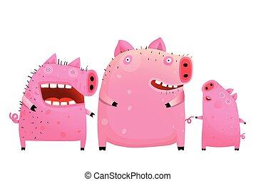 家庭, 父親, 兒子, 母親, 樂趣, 豬