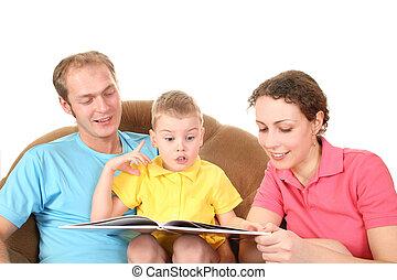 家庭, 由于, 男孩, 閱讀, 書