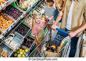 家庭, 由于, 購物手推車, 在, 超級市場