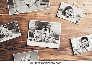 家庭, 相片, 放置, 上, a, 桌子