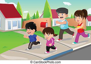 家庭, 跑, 户外, 在中, a, 郊区, 社区