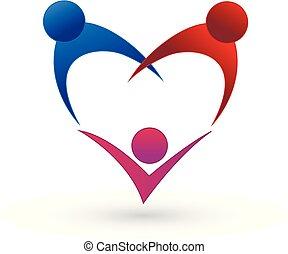 家庭, 队, 人们, 心, figure., 矢量, 标识语, 符号
