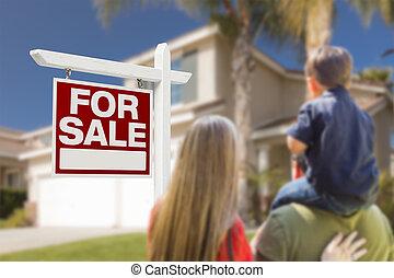 家庭, 面对, 待售, 房地产征候, 同时,, 房子