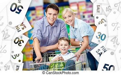 家庭, 驅使, 購物手推車, 由于, 食物