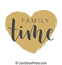 家庭, time., illustration., 手寫, 股票, 字母, 矢量