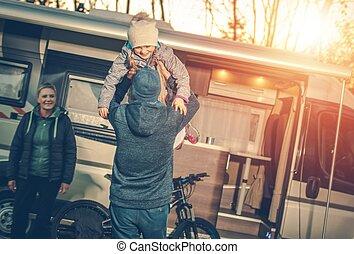 家族のキャンプ, 時間