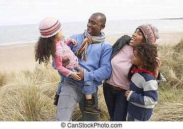 家族の歩くこと, 前方へ, 砂丘, 上に, 冬, 浜