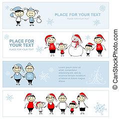 家族の クリスマス, デザイン, 一緒に, 休日, 旗, あなたの, 幸せ