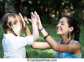 家族の 時, 子供, -, 持ちなさい, 母, 楽しみ, 幸せ