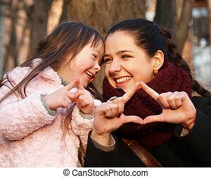 家族の 時, 母, -, 持ちなさい, 子供, fun.