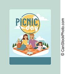 家族の 活動, 日, 屋外, 親, 幸せ, 時間, 発表, spends, children., 一緒に, illustration., ピクニック, でき事, ベクトル, 招待