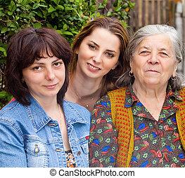 家族の 肖像画, -, 娘, 孫娘, そして, 祖母