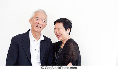 家族ビジネス, 一緒に, 恋人, アジア人, パートナー, 所有者, 肖像画, シニア, 幸せ