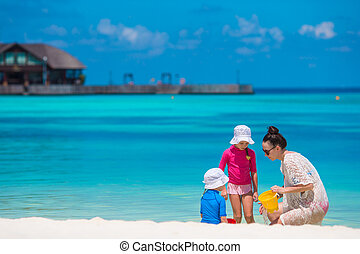 家族休暇, トロピカル, おもちゃ, 浜, 遊び, 幸せ