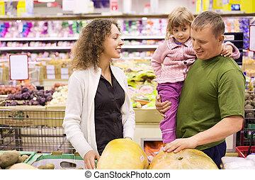 家族, ∥で∥, 女の子, 買い物, カボチャ, 中に, スーパーマーケット