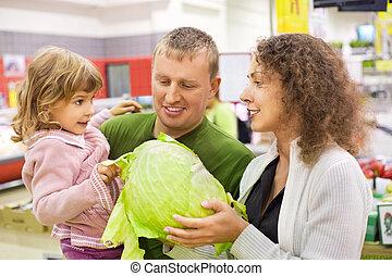 家族, ∥で∥, 女の子, 買い物, キャベツ, 中に, スーパーマーケット