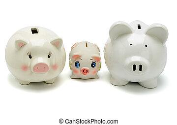 家族, の, 貯金箱