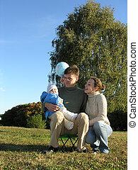 家族, の, 3, 上に, 牧草地