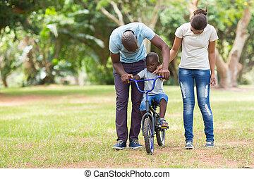 家族, アフリカ, 屋外で, 若い, 時間, 品質, 持つこと